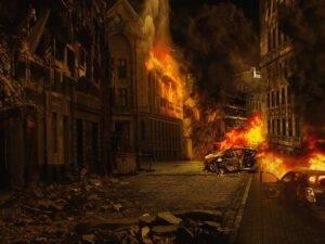 city, war, destroyed