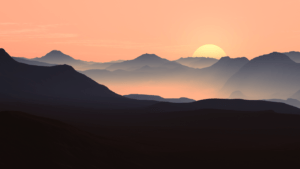 mountains, landscape, sunset