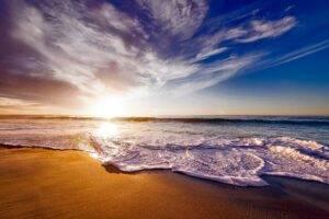 beach, sea, sunset